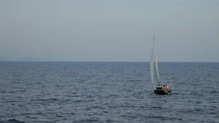 WS LD Sailboat Sailing in Ocean / Cornwall, England, UK