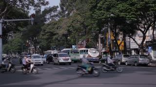 WS LD Traffic on Busy Street / Ho Chi Minh, Vietnam