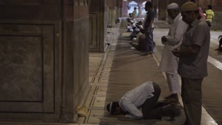 WS Men Praying at Night Jama Masjid Mosque / India