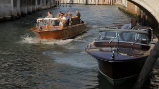 WS PAN Boat Full of People Traveling down Canal / Venice, Italy