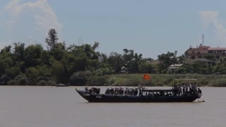 WS PAN Boat Going by with Vietnamese Flag / Vietnam