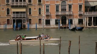 WS PAN Boat Going down Grand Canal / Venice, Italy