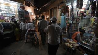 WS PAN Busy Market Road at Night / Varanasi, India