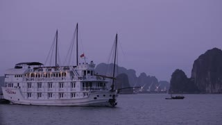 WS PAN Ship in Ha Long Bay at twilight / Vietnam