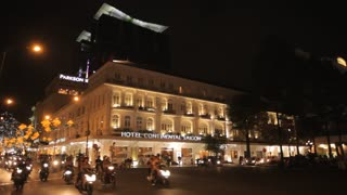 WS PAN Traffic in front of Hotel Continental and Saigon Opera House at Night / Ho Chi Minh, Vietnam