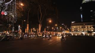 WS PAN Traffic in front of Saigon Opera House at Night / Ho Chi Minh, Vietnam
