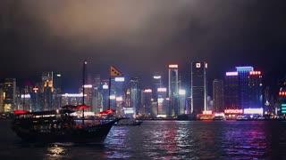 WS PAN TS Harbor ships at night / Hong Kong, China