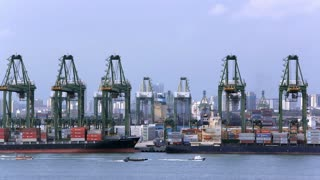 WS PAN View of container port with ships and cranes / Singapore