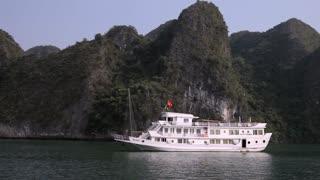 WS TD White passenger boat in Ha Long Bay / Vietnam