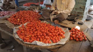 WS TU Man selling tomatoes in market / India