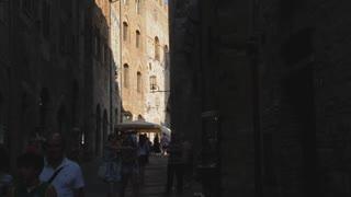 WS TU Narrow Street with Old Brick Tower / Tuscany, Italy