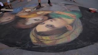 WS TU Street Artist Painting on Sidewalk / Florence, Italy