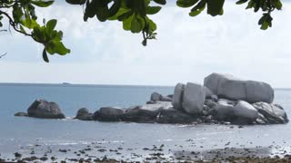 WS View from beach of large rocks in sea