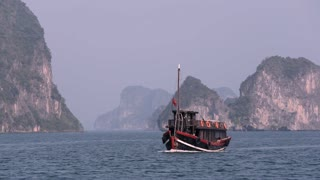 WS Wooden boat in bay / Ha long Bay, Vietnam