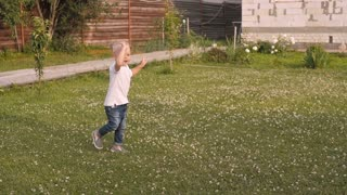 Adorable Kid Boy Dancing On a Summer Meadow Outdoors. Child walking On a Sunny Summer Day
