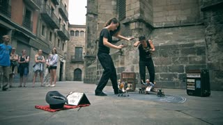 BARCELONA, SPAIN June 10, 2016: artfully made-up street artists on the famous square in barcelona