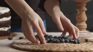 Blueberry Cake Arranged on a Wooden Table