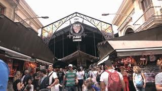Boqueria Market entrance in Ramblas street, Barcelona, Spain, 10 june 2016