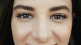 Close Up of a Woman's Face. Beauty shot. Beautiful Eyes Macro Outdoors, Beauty Concept
