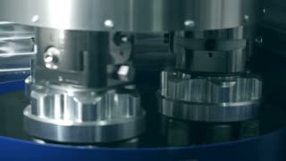 Detail of stainless steel machinery in physics laboratory nano grinding
