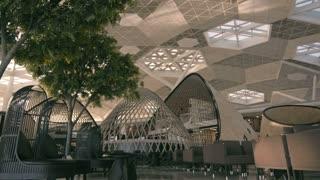 Fragment of airport interior in Baku, designer interior cafe