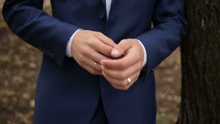 Man Wear a Suite, Correct Clothes, Fees Groom, Wedding Preparations Outdoor