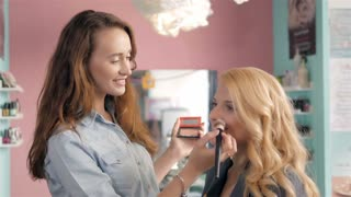 Portrait of smiling business woman with make up, in beauty salon