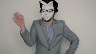 rabbit mask young lesbian gay stylish hair man freaking in studio, halloween concept