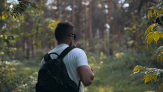 Tourist enjoying fresh air while resting after strolling in forest in sunny autumn day, male in trendy sunglasses admires nature while standing near tall trees in the park during fall weekend