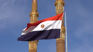 Egypt Flag on the Background of the Mosque