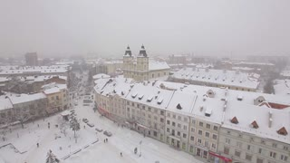 Roof of the Old City Covered With Snow