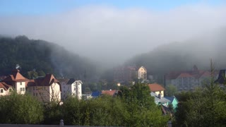 Thick Fog Hover the Mountain Resort