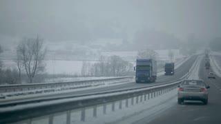 Winter Road Cars go