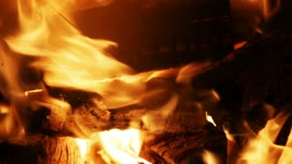 Burning Wood In The Fireplace - 4 k