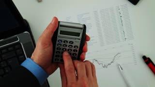 Calculator in hands