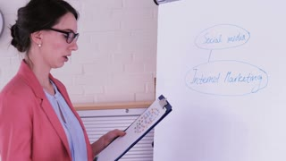 A young businesswoman writing E-Commerce on the flip chart.