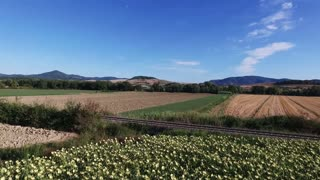 Aerial drone footage - flying over fields in Italy