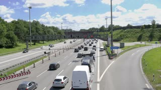 Hamburg-Germany - June 18: Congestion on the A 7 highway - June 18, 2017 - 4 K