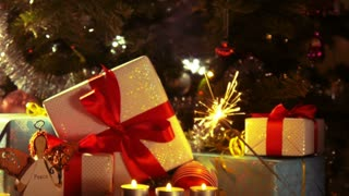 New Year and Christmas Celebration - Couple cheering champagne - 4 k