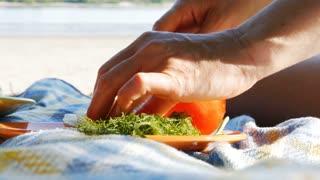 Picnic on a river beach - cutting mozzarella and tomato 4k