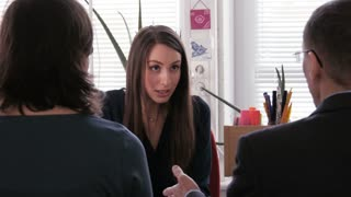 Project meeting - a businesswoman had a stressful discussion with colleagues