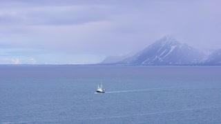 Expedition boat in the arctic environment near Svalbard