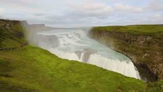 Beautiful rainbow over gullfoss waterfall in Iceland in the summer