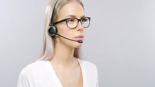 Customer service or support representative with headset