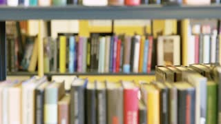 Female student looking for book in school library