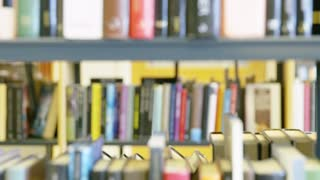 Young female student looking for book in school library