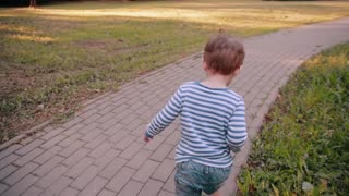 A cute little boy walking on a road in a park on a sunny summer day. Back view, slow mo