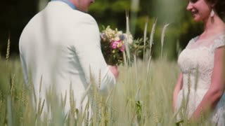 A handsome groom coming up to his beautiful bride in a wheat field, he gives her wedding bouquet, kisses her.