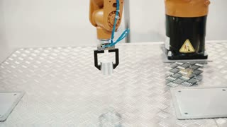 A robotic arm with similar functions to human arm are moving weight. 4K