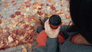 Autumn beautiful maple leaves. Top view of young stylish woman sitting in city park drinking coffee 4k